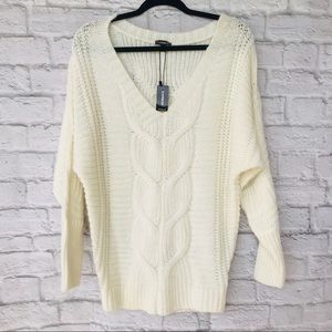 NWT express v neck cable knit sweater